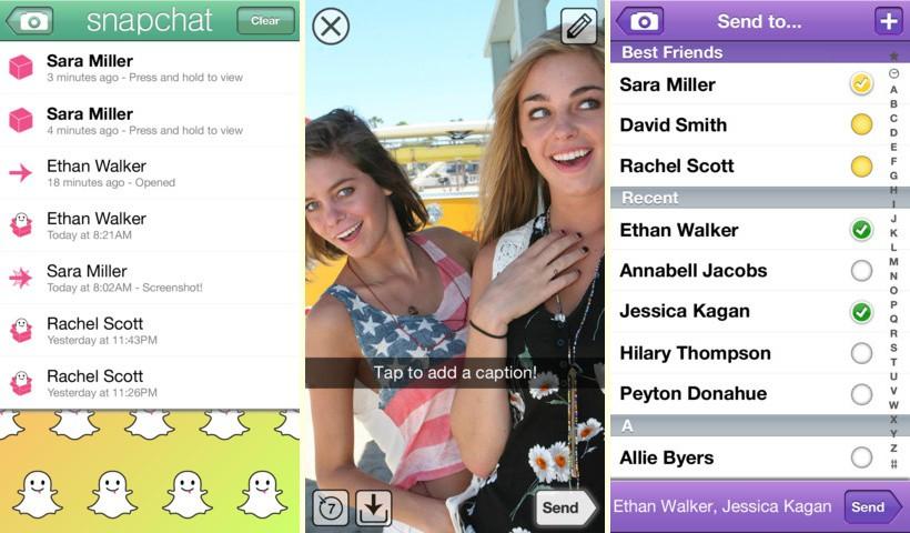 Интерфейс SnapChat автоматически активирует камеру телефона, позволяя быстро обмениваться снимками.