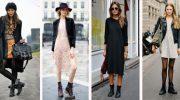 Как сочетать грубые ботинки с юбками и платьями