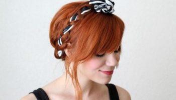 5 красивых причесок с платком или лентой на короткие волосы